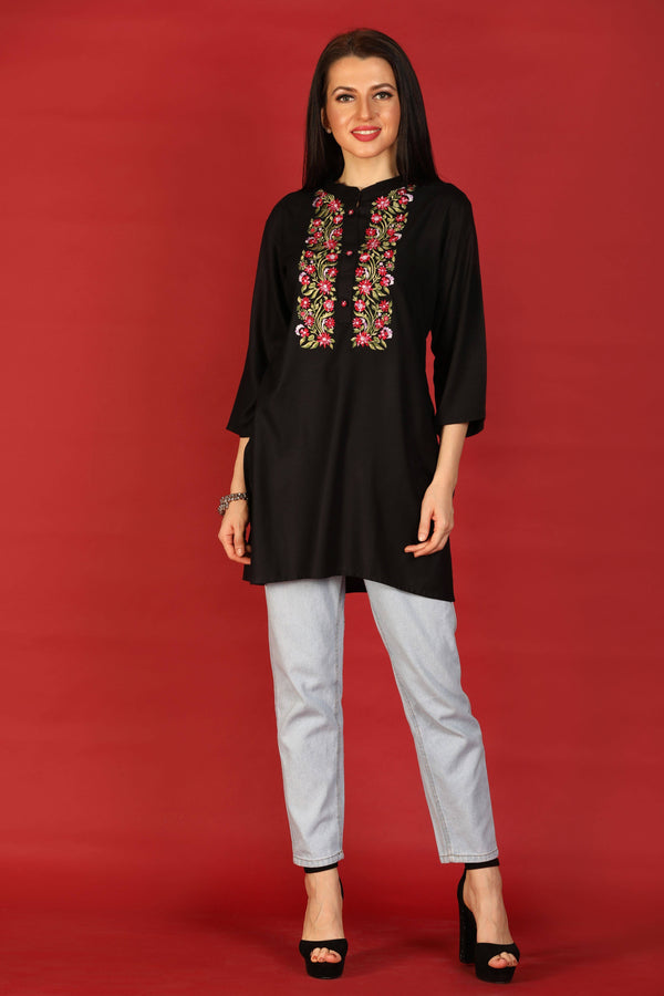 Readymade Embroidered Cotton Kurti - www.riafashions.com