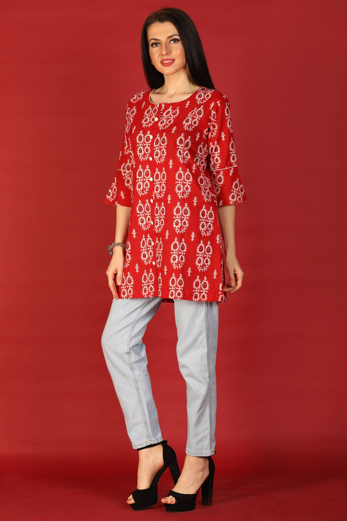 Red Block Printed Cotton Kurti