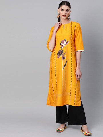 Mustard Yellow Designer Straight Kurta