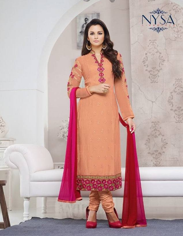 Peach embroidered salwar set-www.riafashions.com
