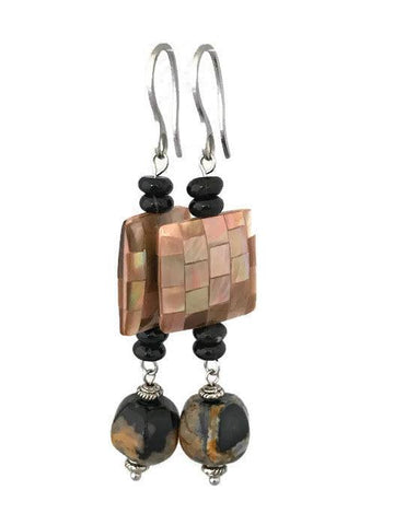 Shell Pearl - Agate Drop Earrings-www.riafashions.com