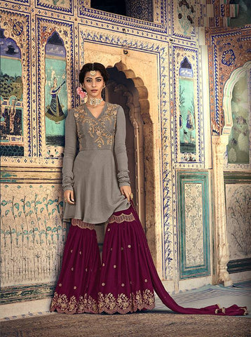 Grey & Purple Colour Make to Order Salwar Suit