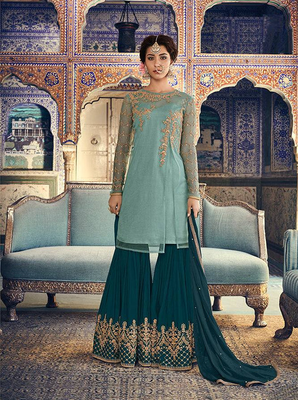 Steel Blue & Green Colour Make to Order Salwar Suit