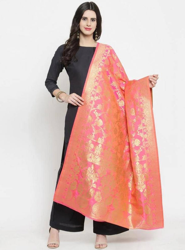 Pink Colored Designer Banarasi Jacquard Dupatta With Jacquard Work