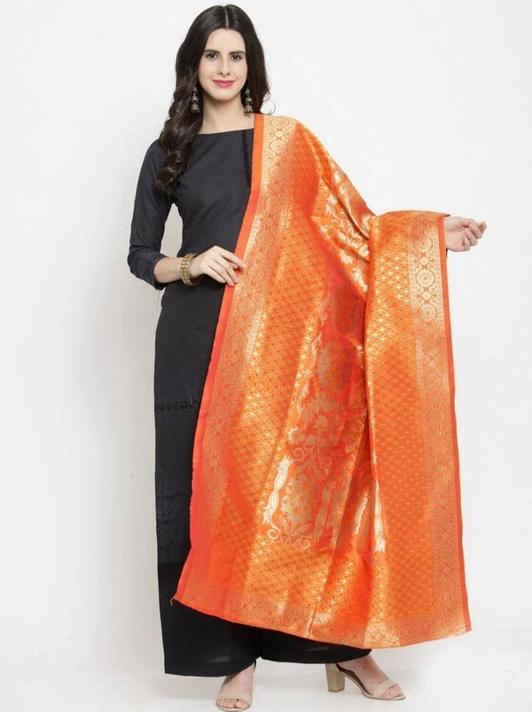 Orange Colored Designer Banarasi Jacquard Dupatta With Jacquard Work
