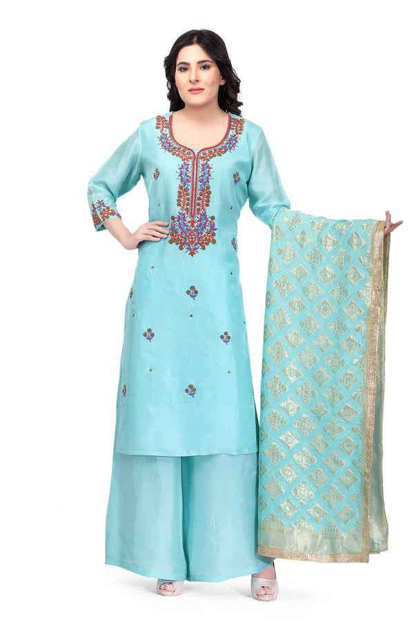 Ready  Made Sky Blue Silk Hand Embroidered Salwar Suit With Banarsi Silk Dupatta