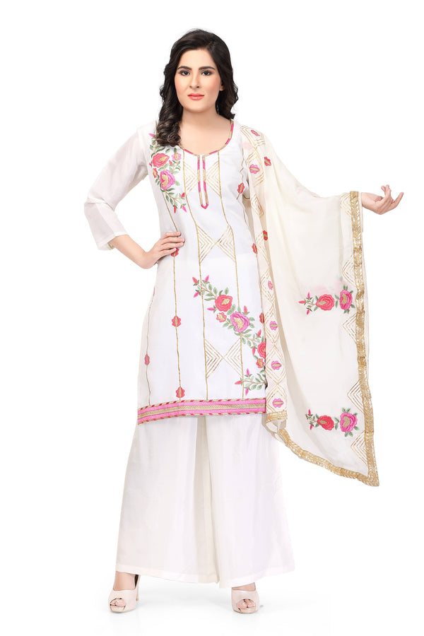White Silk Hand Embroidered Salwar Suit