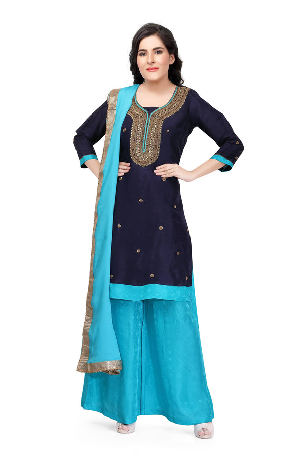 Navy Blue Silk Hand Embroidered Salwar Suit