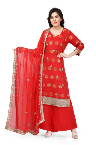 Red Silk Hand Embroidered Salwar Suit