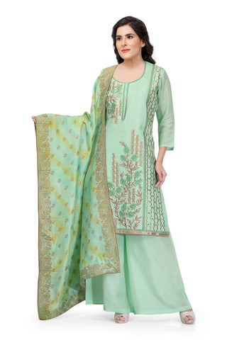 Sea Green Silk Hand Embroidered Salwar Suit