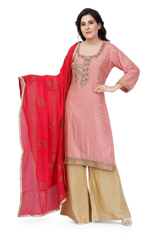 Pink Silk Hand Embroidered Salwar Suit