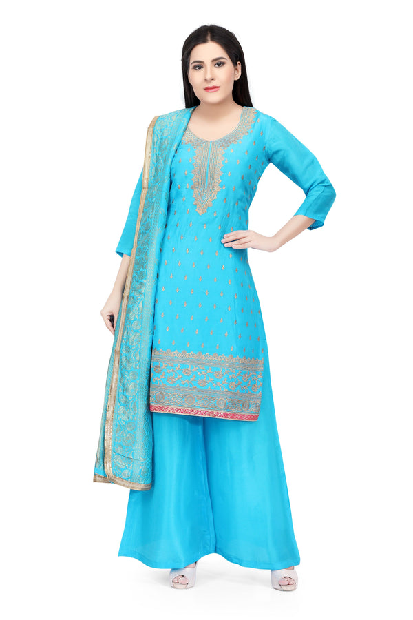 Ready Made Aqua Silk Hand Embroidered Salwar Suit With Banarsi Silk Dupatta