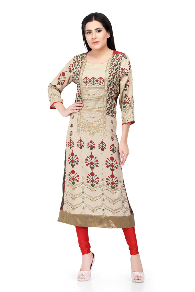 Readymade Sabhyata Cream Cotton with Zari Item