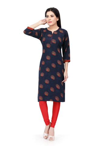 Navy Blue Colour Cotton Kurti