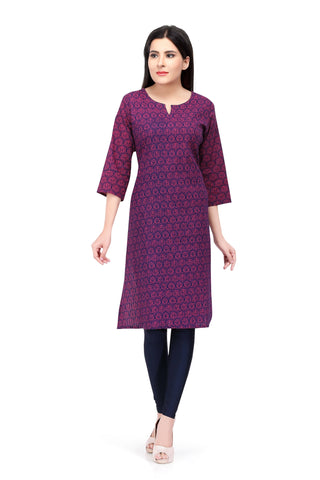 Readymade Sabhyata Purple  Cotton Printed Kurti