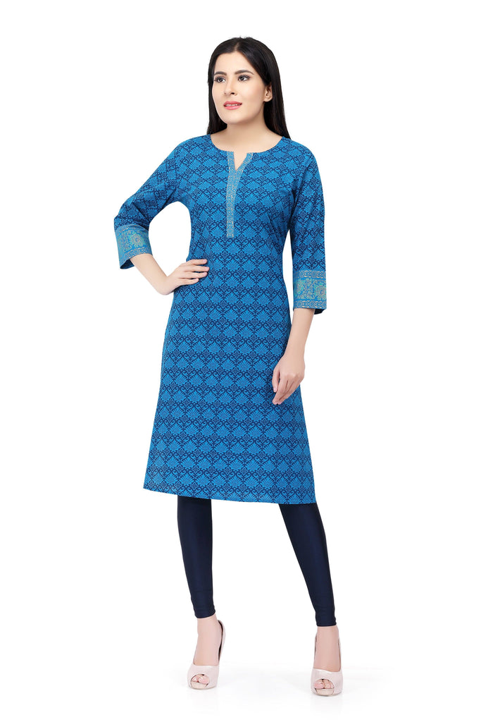 Readymade Sabhyata Blue Cotton Printed Kurti