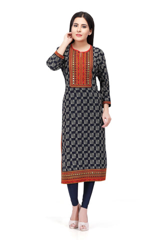 Sabhyata Black Cotton Printed Kurti