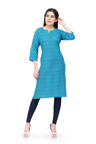 Readymade Blue Sabhyata Cotton Printed Kurti