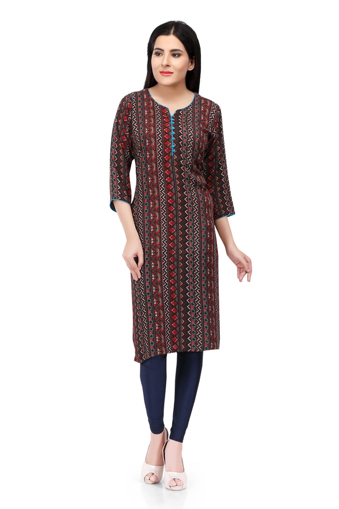 Readymade Brown Printed Cotton Kurti