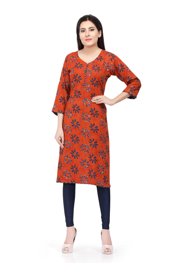 Readymade Orange Printed Cotton Kurti