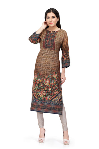 Brown Sabhyata Cotton Viscose Printed Kurti
