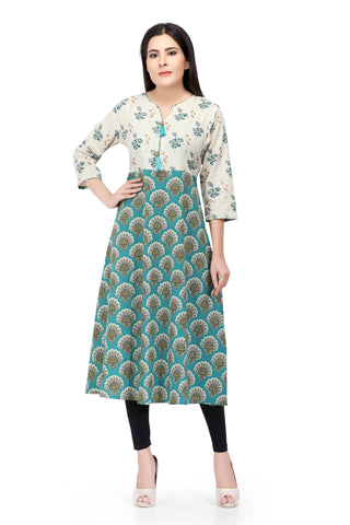 Readymade White Sabhyata Cotton Printed Kurti
