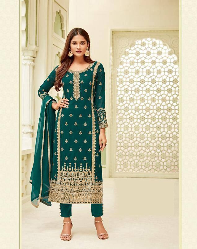 Green Make to Order Salwar Suit