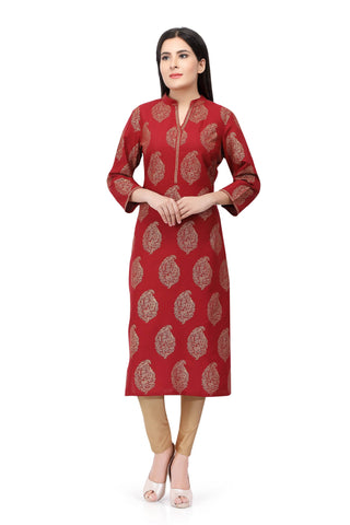 Red Sabhyata Cotton Printed Kurti