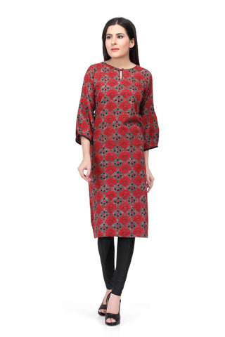 Red Printed Cotton Kurti