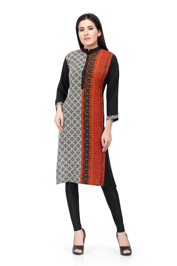 Readymade Black and Orange Chiffon Kurta