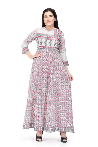 Sabhyata Light Pink Cotton Printed Kurti
