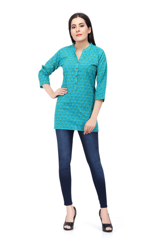 Aqua Printed Short Cotton Kurti