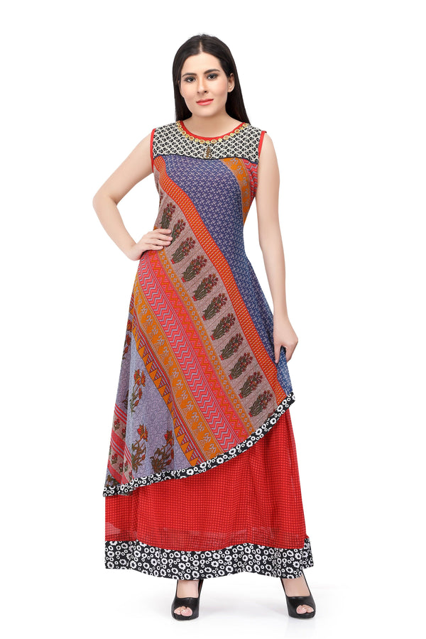 Sabhyata Multicoloured Chiffon Printed Kurti
