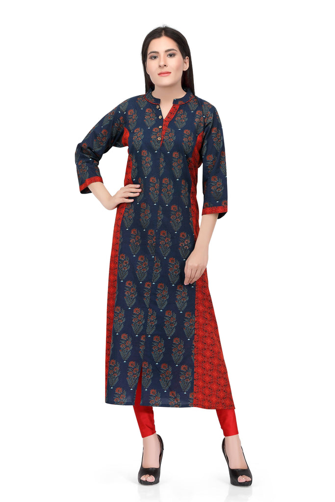 Readymade Sabhyata Blue and Red Cotton Kurti