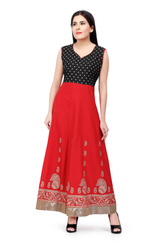 Sabhyata Red Cotton Kurti