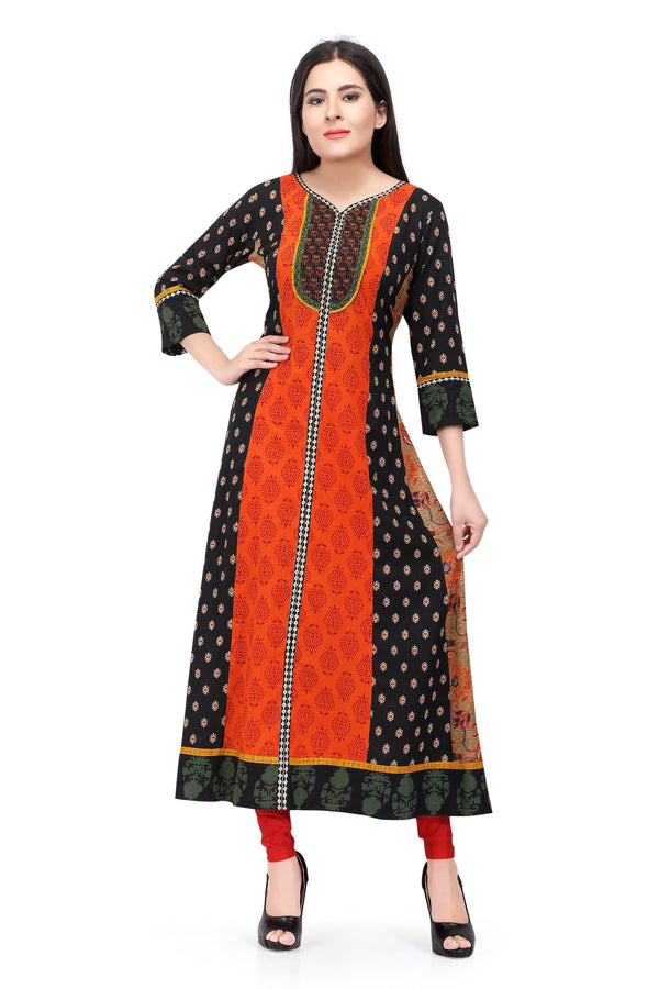 Readymade Sabhyata Black and Orange Cotton Kurti