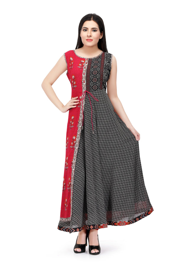 Readymade Black and Red Chiffon Kurti