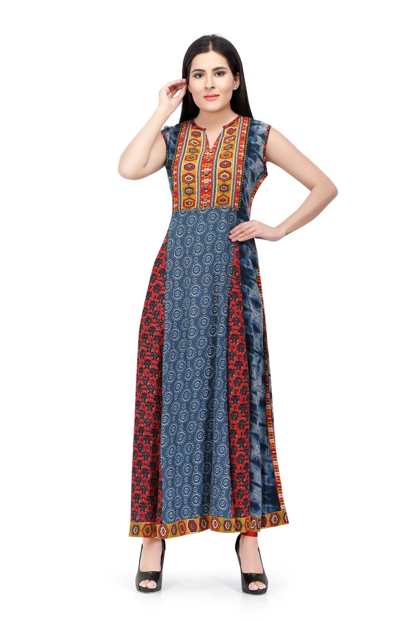 Readymade Sabhyata Blue and Red Chiffon Kurti