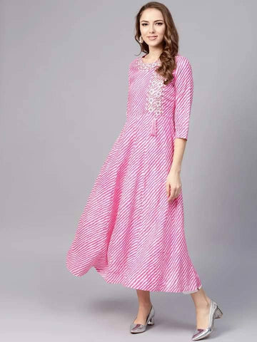 Mesmerising Pink Colored Cotton Kurti