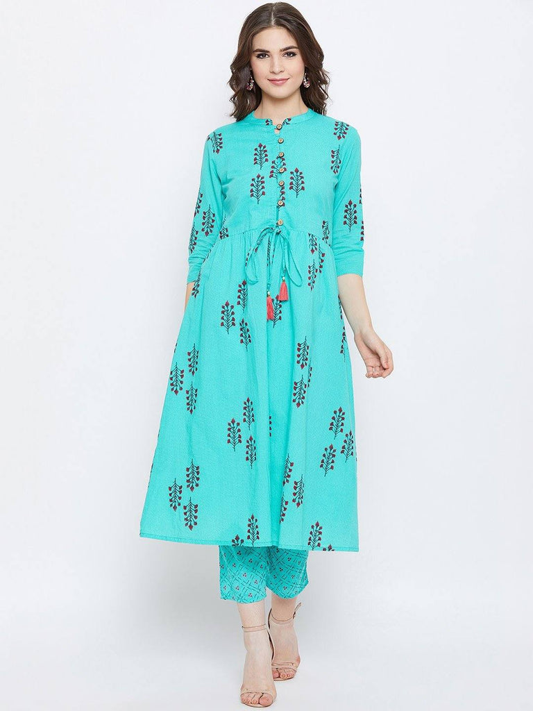 Turquoise Blue Printed Kurta With Trousers