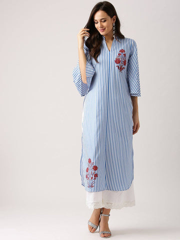 Blue Cotton Printed Kurti-www.riafashions.com