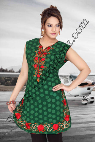 Green Cotton Kurti-www.riafashions.com