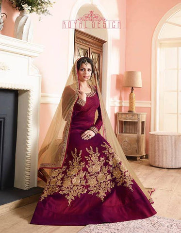 Maroon/Purple Floor length Set-www.riafashions.com