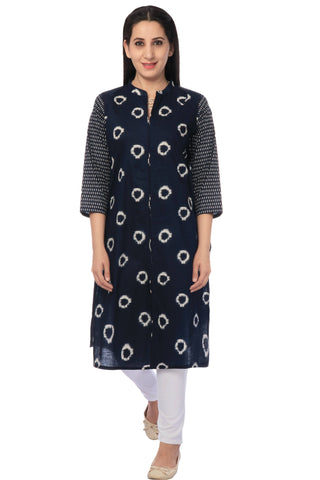 Navy Blue Printed Cotton Kurti-www.riafashions.com