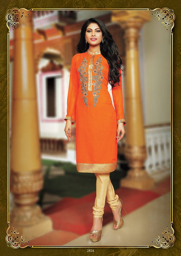 Orange Party Wear Tunic-www.riafashions.com