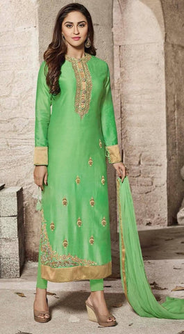 Green Art Silk Salwar Set-www.riafashions.com