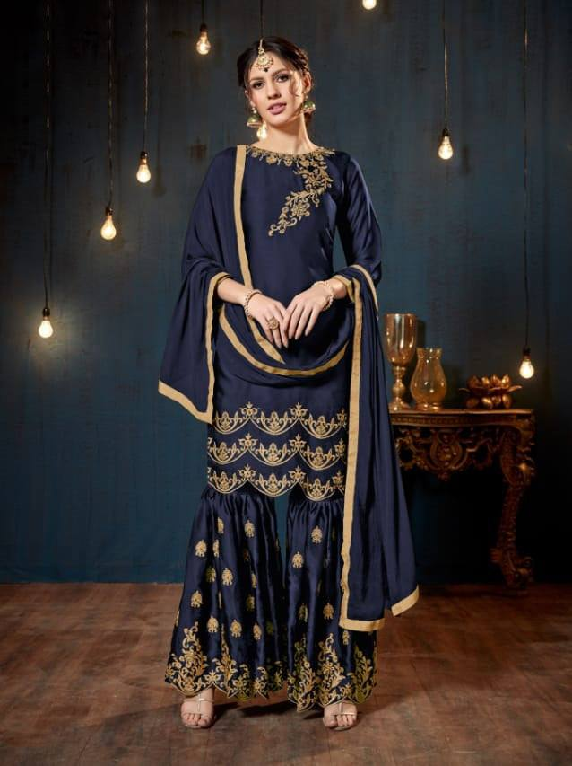 Navy Blue Colour Make to Order Salwar Suit