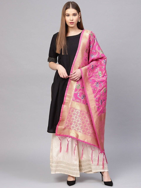 Pink Colour Designer Banarasi Silk Dupatta With Zari Work