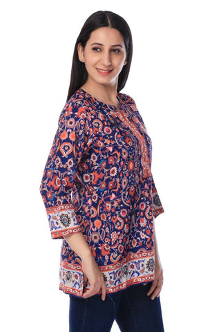Multi Coloured Printed Crepe Tunic-www.riafashions.com