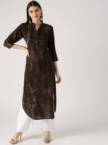 Brown Cotton Kurti-www.riafashions.com